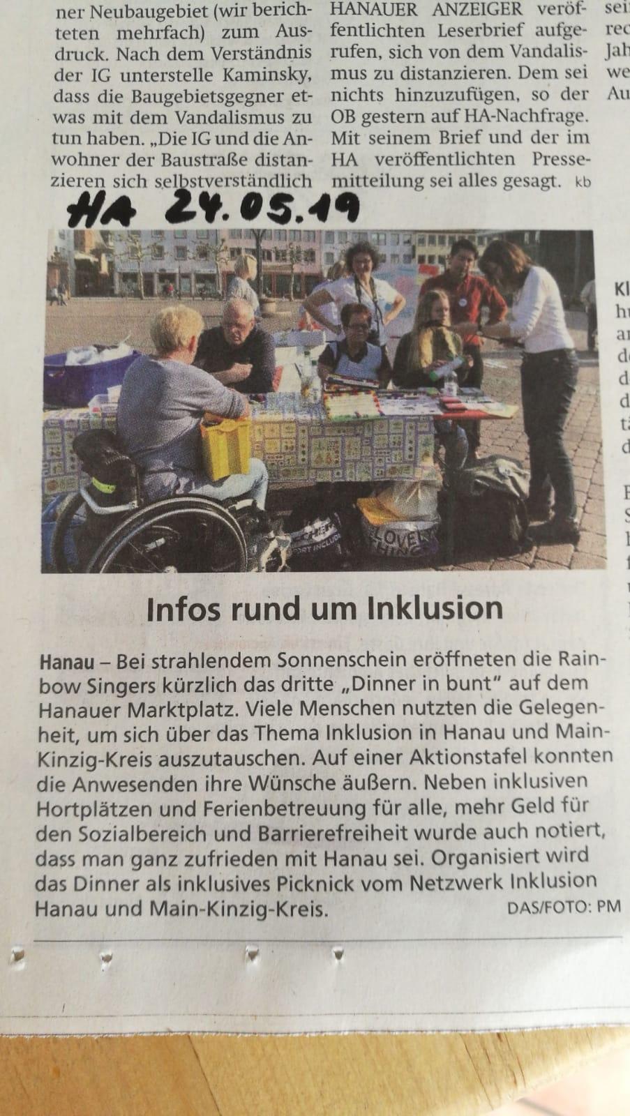 Artikel über das Dinner in bunt 2019 im Hanauer Anzeiger